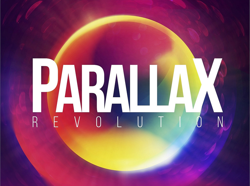 Parallax optics for laser tag logo